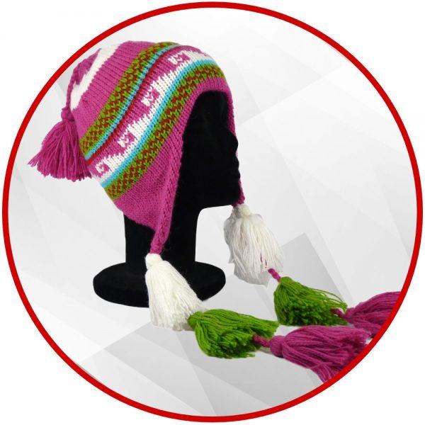 bonnet peruvien fuchsia avec pompon