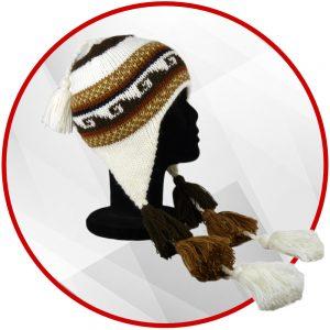 Bonnet péruvien marron avec pompon
