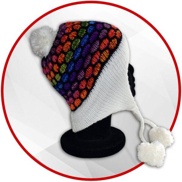 Bonnet péruvien blanc et multicolore avec pompon