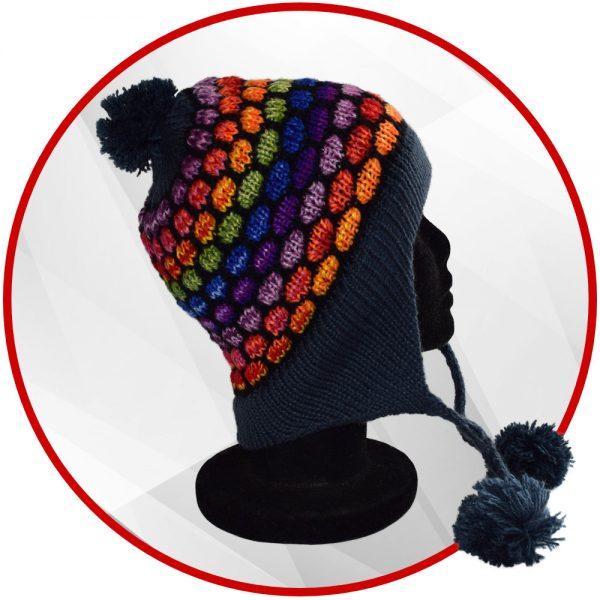 Bonnet péruvien bleu et multicolore avec pompon