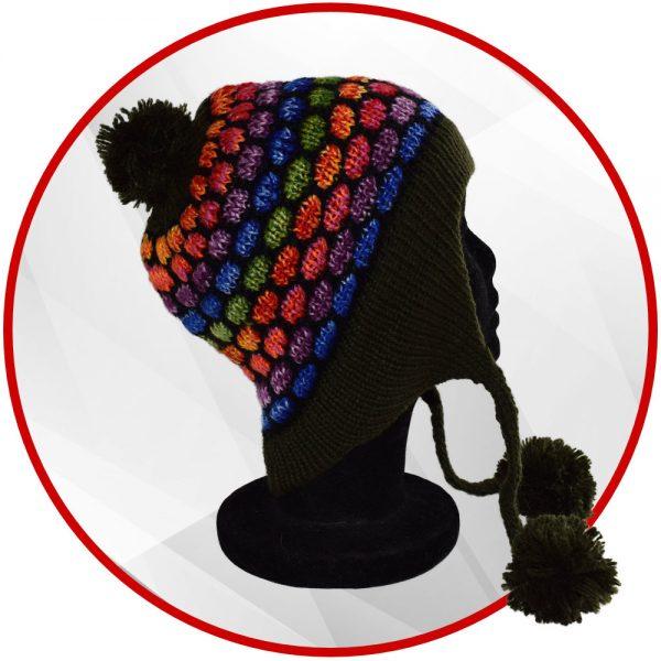 Bonnet péruvien vert foncé et multicolore avec pompon
