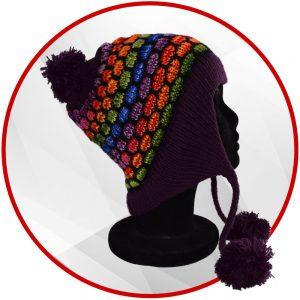 Bonnet péruvien violet foncé et multicolore avec pompon