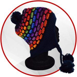 Bonnet péruvien bleu foncé et multicolore avec pompon