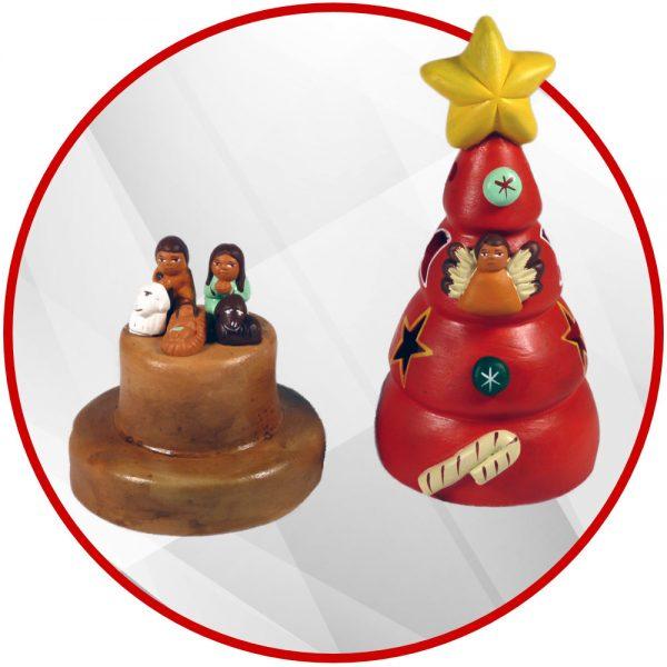 Sapin de Noël andin en terre cuite mini crèche